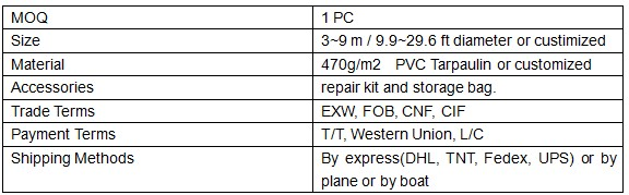 Specification of inflatable rooftop balloon