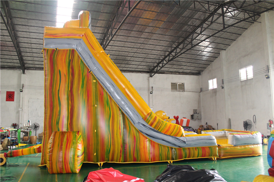 Inflatable yellow Marble Water Slide with pool