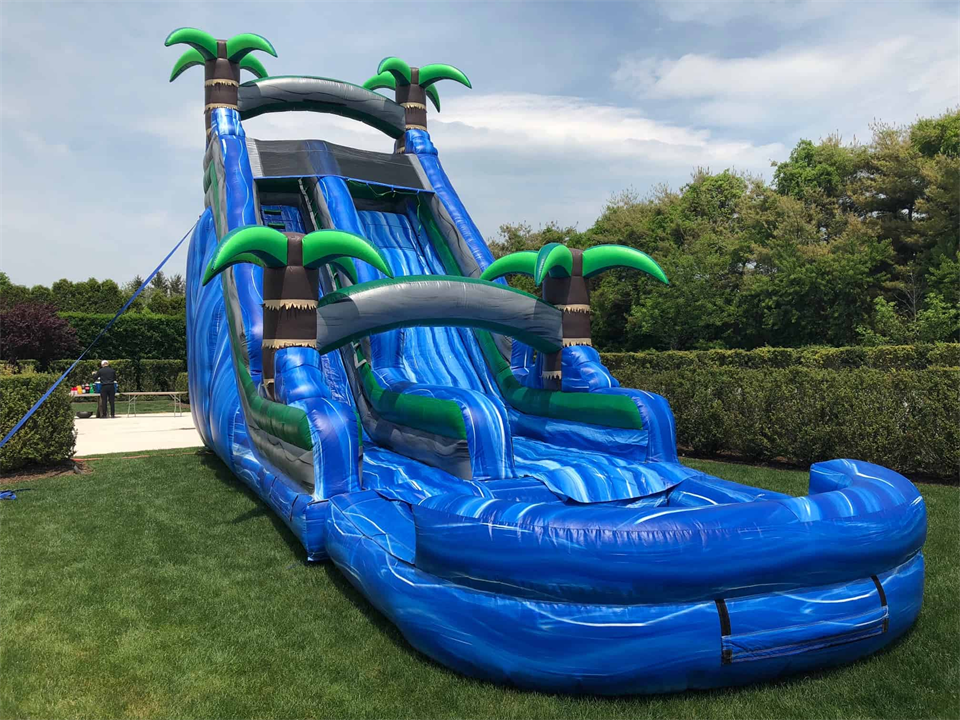 20ft Tropical amusement park kids jungle Inflatable water slide with Pool